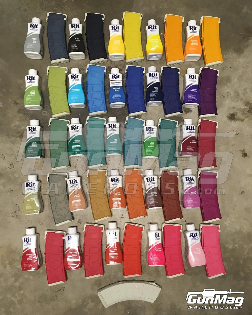 Rit Dye Color Chart as displayed on PMAGs
