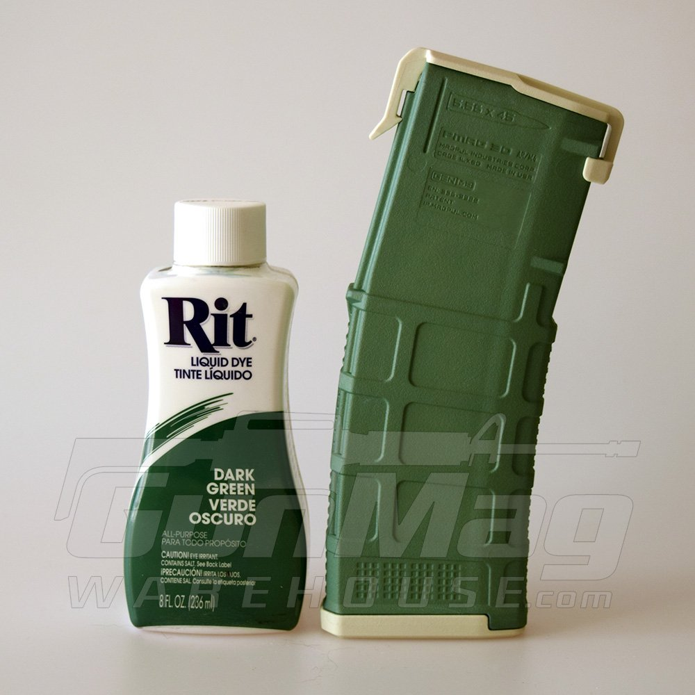 "A new Magpul color: Rit Dye ""Dark Green"" on a dyed sand PMAG"