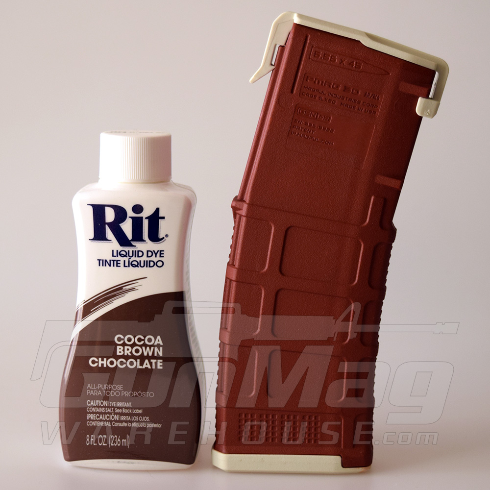 "sand PMAG colored with Rit Dye's ""Cocoa Brown Chocolate"""