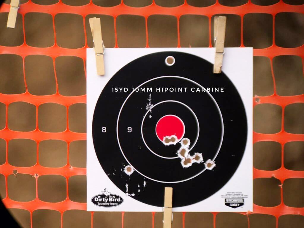 10mm-carbine shot pattern on target