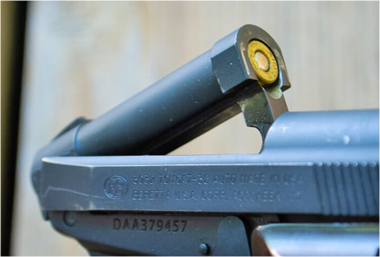 The Beretta Tomcat's flip-up barrel