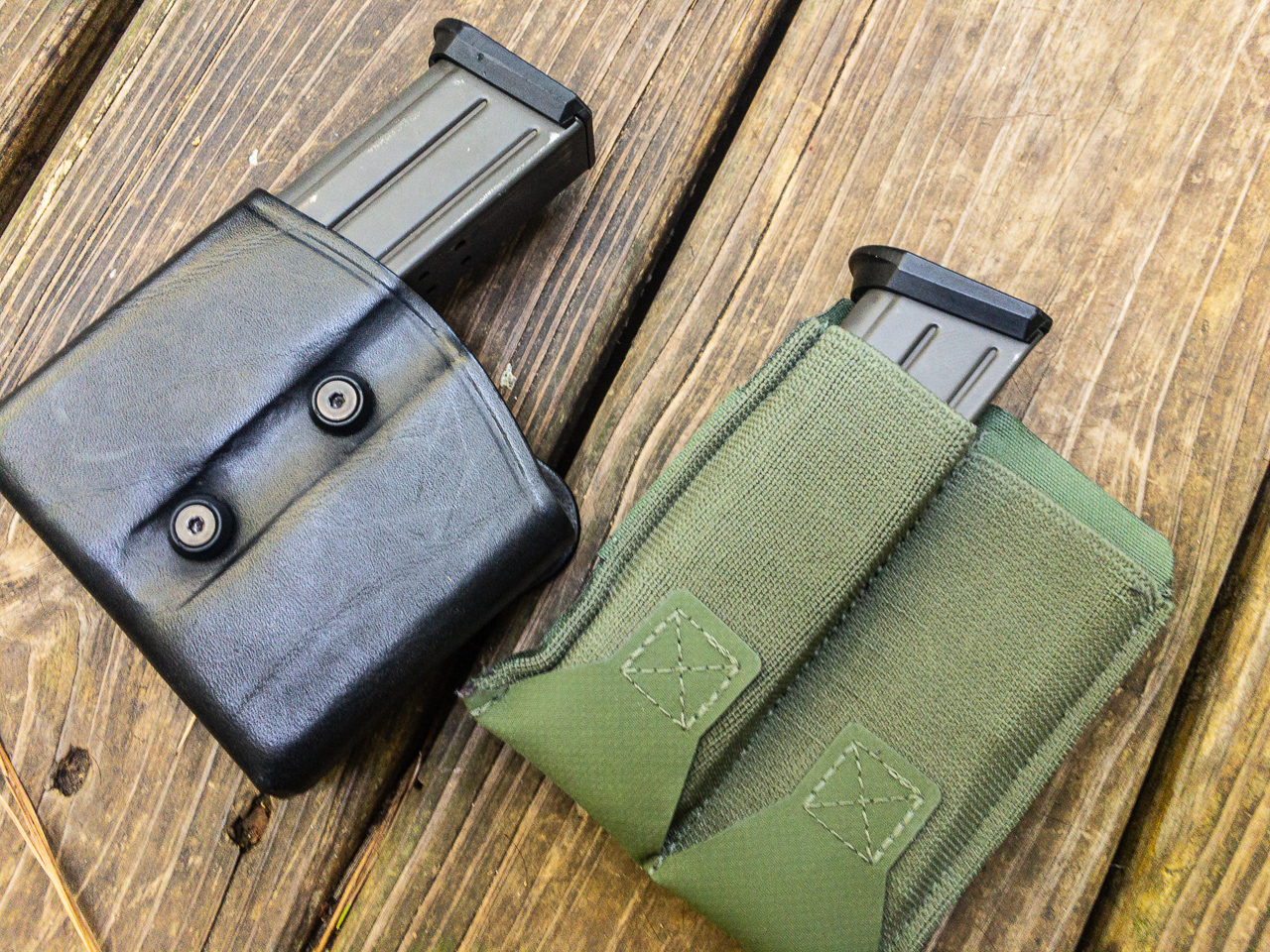 I love these magazine carriers from Blue Force Gear (right). They're thin, flexible, comfortable, secure, and most important offer a slick and consistent draw.
