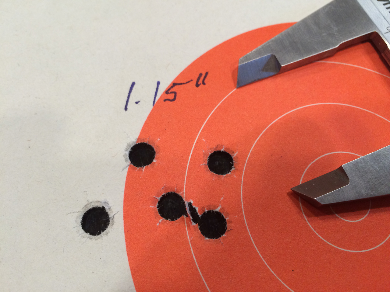Here's a best five-shot, 25-yard group from the Sig Sauer V-Crown 124-grain testing.