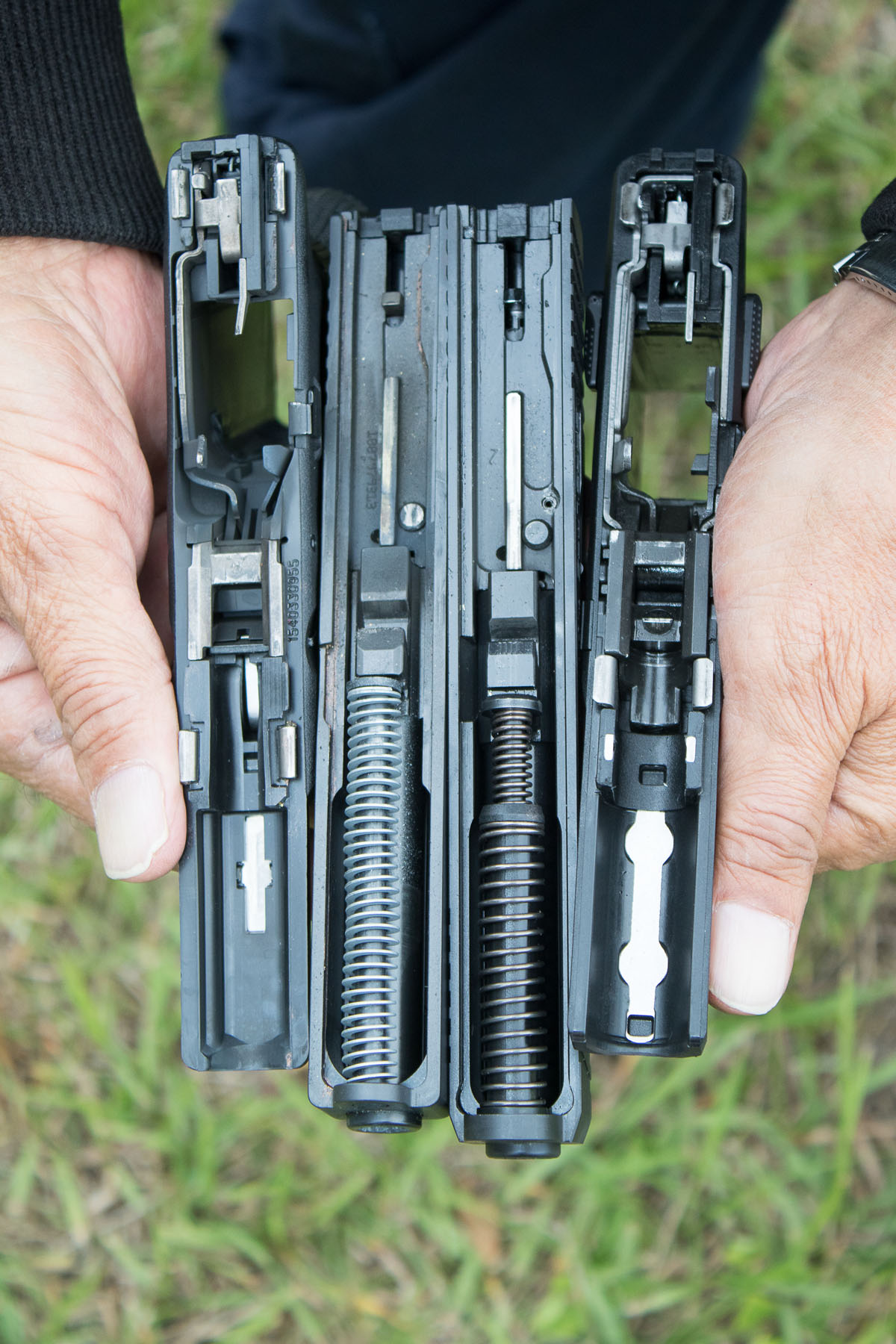 Glock 17 Gen4 and SAR9: which is which? Hint: look for ambi thumb safety levers, a SAR9 feature.