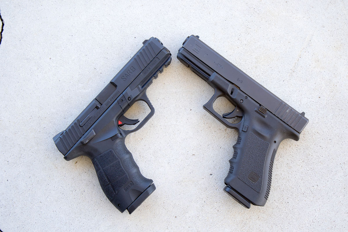Perspective: SAR9, left, and Gen4 Glock 17, right.