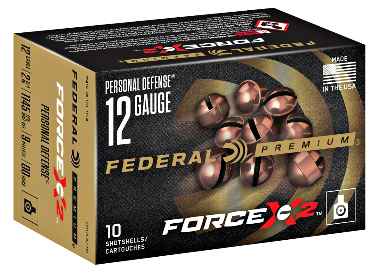 Ammunition Depot - Federal's FORCE X2's nine copper-plated 00 FX2 buckshot pellets are specially engineered to split into two equal-size pieces on impact. To be seen at SHOT Show 2020.