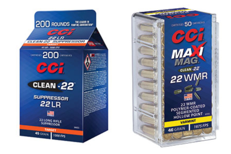 New Ammunition: additions to the CCI Clean 22 line: Clean-22 Suppressor 22 LR and Maxi-Mag Segmented Hollow Point (SHP) 22 Winchester Magnum Rimfire (WMR).