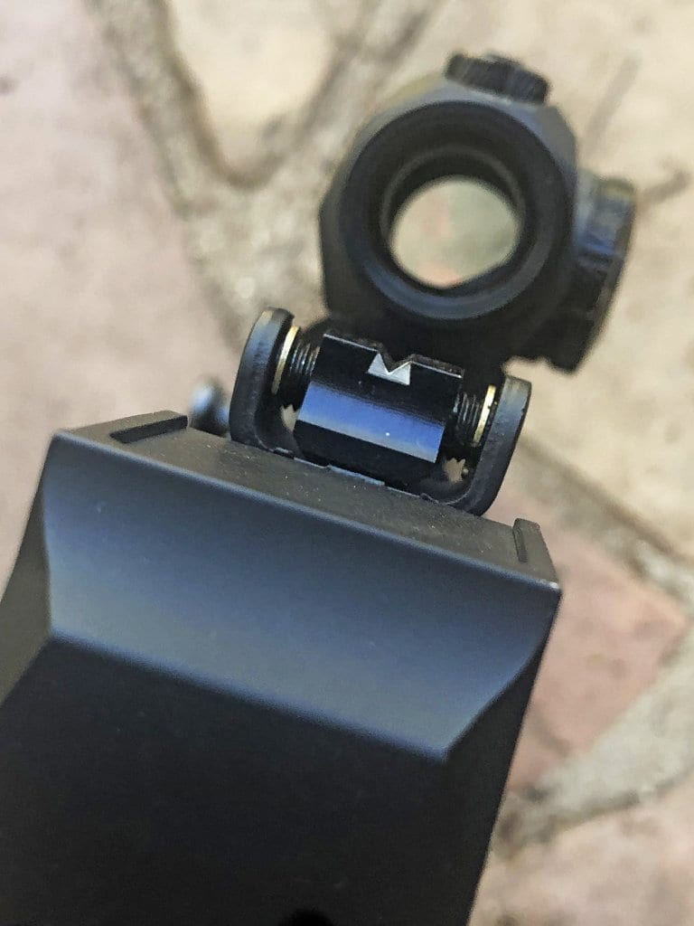 The rear sight, adjustable for windage.