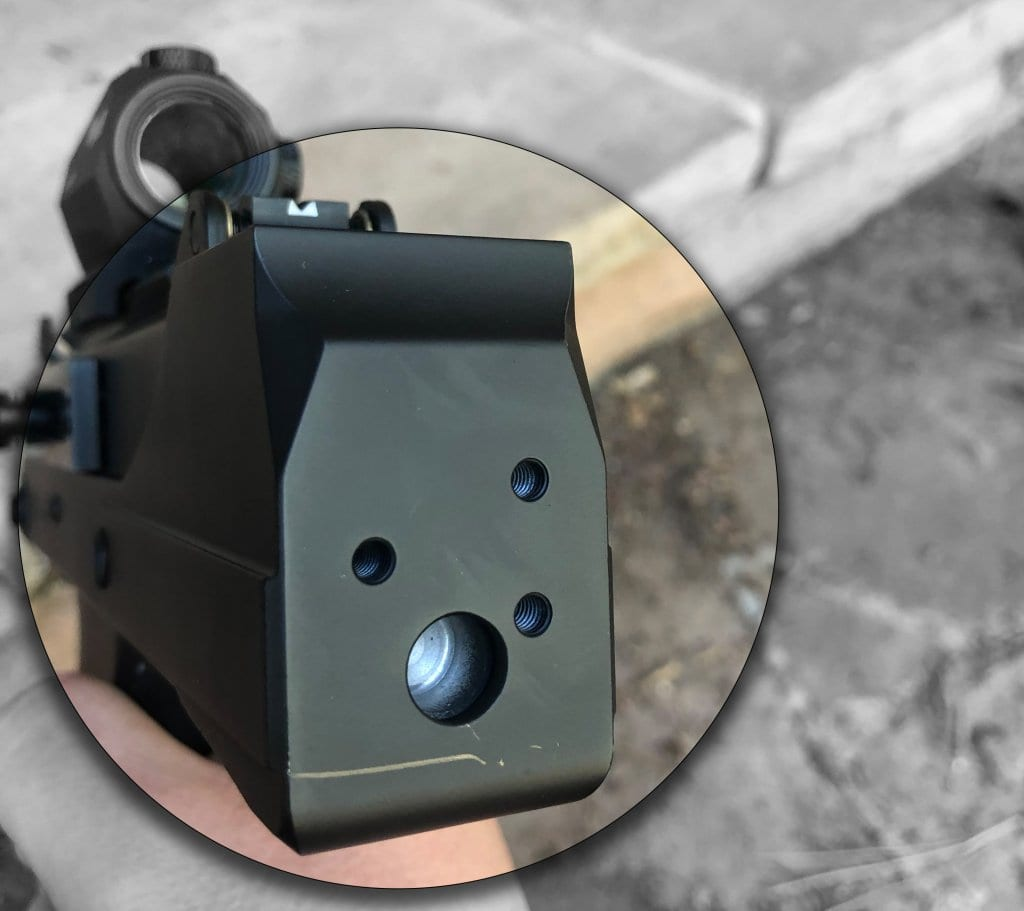 MPA 30: the rear of the lower receiver has attachment points for various accessories.