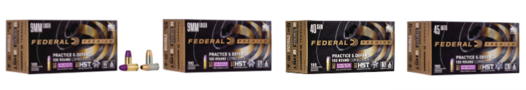 New Ammunition 2020 - Practice & Defend Packs available in 9mm, .40 S&W, and .45 auto.