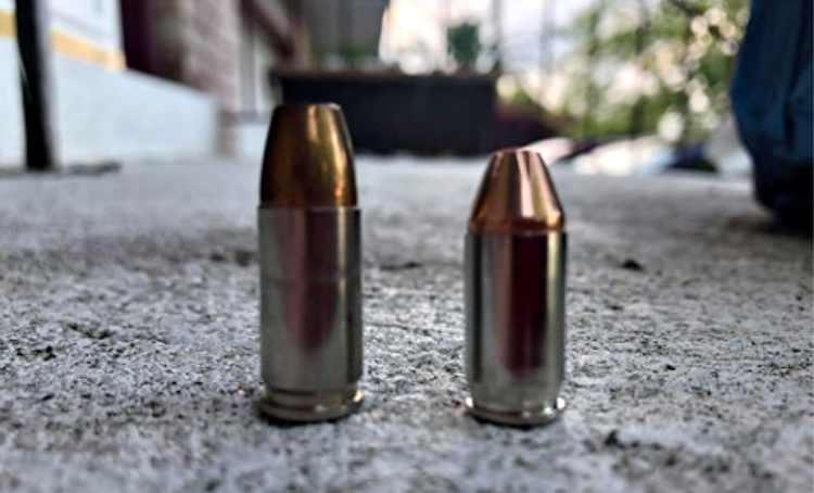 9mm Luger on the left, .380 ACP on the right.