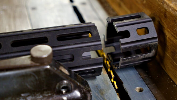 Cutting a handguard on a tablesaw - AR-15 pistol build modification.