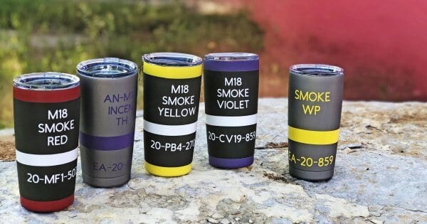Bad Moon Armory smoke grenade insulated tumblers