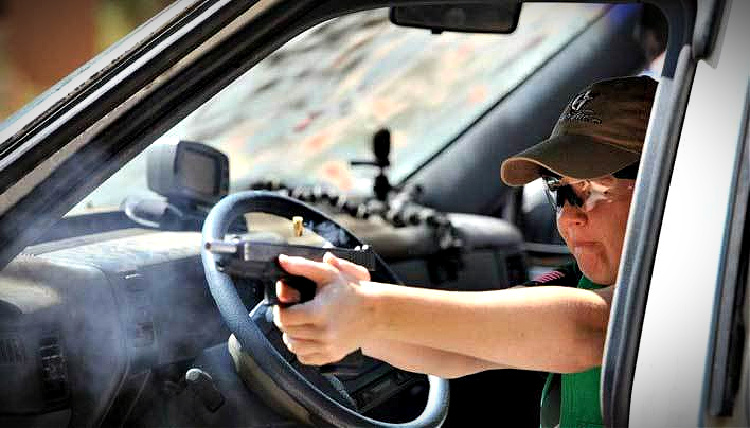Include shooting from a car in your training to increase the odds of surviving a riot in your vehicle.