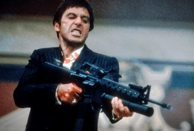 "Tony Montana in Scarface with M203, ""Say hello to my little friend"""