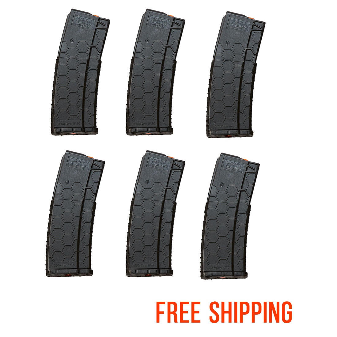6 Pack of Hexmag Series 2 AR-15 .223/5.56 30-Round Magazine