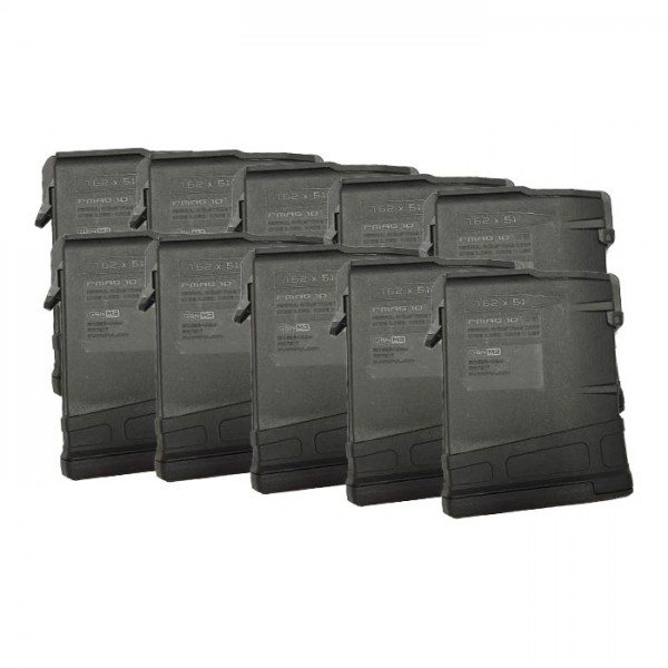 10 Pack of Magpul PMAG GEN M3 LR/SR 308/7.62x51 AR-10 10-Round Magazine Colors Combined Right View
