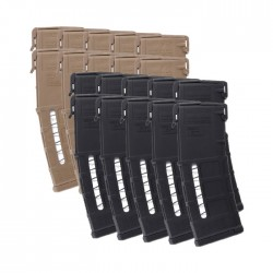 10 Pack of Magpul PMAG GEN M3 Window AR-15 .223/5.56 30-Round Magazine Colors Combined Right View