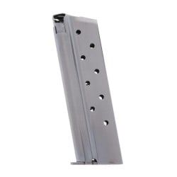 Metalform Standard 1911 Government, Commander .38 SUPER, Stainless Steel (Welded Base & Round Follower) 9-Round Magazine Left