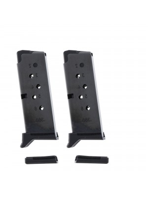 2 Pack Ruger LCP II .380 ACP 6-Round Magazine With Finger Rest Extension Left View