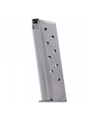 Metalform Standard 1911 Government, Commander .38 SUPER, Stainless Steel (Removable Base & Round Follower) 9-Round Magazine Left