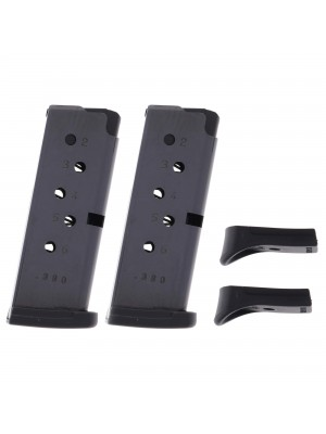 2 Pack Ruger LCP .380 ACP 6-Round Magazine With Finger Rest Extension Right View With Base Plates