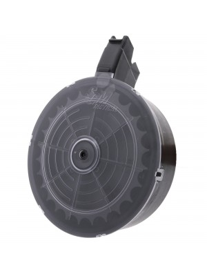 SGM Tactical Vepr 12 Gauge 25-Round Clear Drum Magazine Angulated Front View